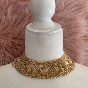 1940s Vintage Pearl Beaded Collar & Clutch set
